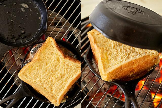 みっしりフレンチトーストを焼いているところ