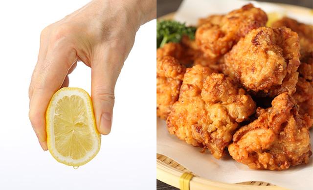 唐揚げにレモンをかけてるイメージ