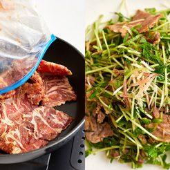 冷凍した豚薄切り肉を炒める写真と豚のしょうが焼きと香味野菜和えの写真