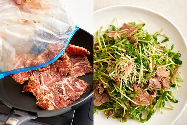 冷凍した豚薄切り肉を炒める写真と豚の生姜焼きと香味野菜和えの写真
