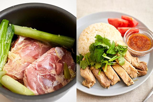 豚薄切り肉に調味液をかけている写真