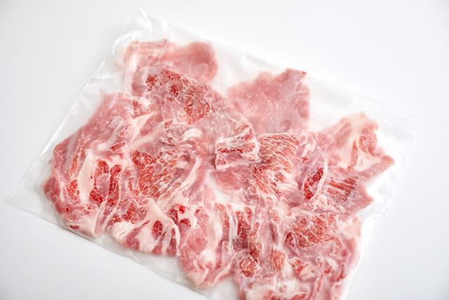 豚薄切り肉の冷凍写真