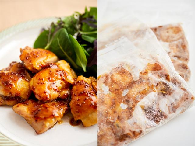 鶏もも肉のマスタード焼きの完成と、冷凍状態