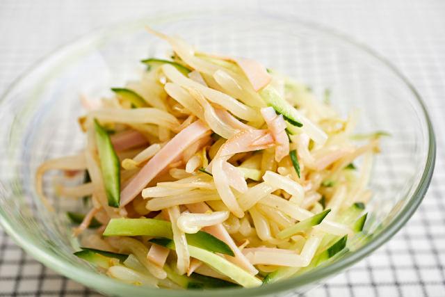 ハムともやしときゅうりのサラダ写真