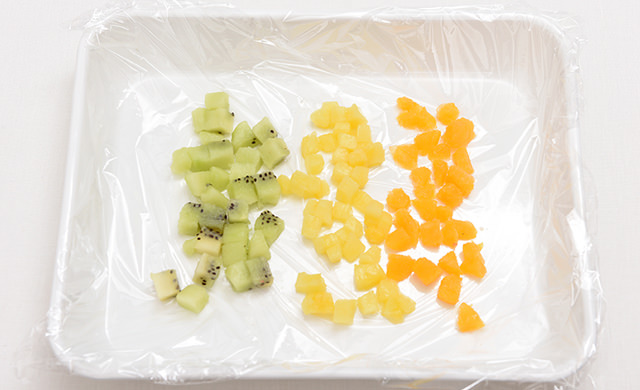 刻んだ冷凍フルーツの写真