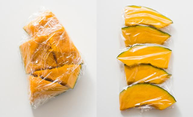 角切りのかぼちゃ、くし型きりのかぼちゃの写真