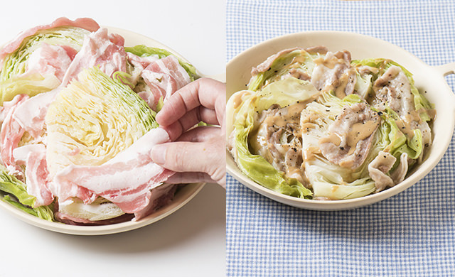 冷凍キャベツの上に豚肉薄切りをのせている写真と豚肉とキャベツの重ね蒸しの写真