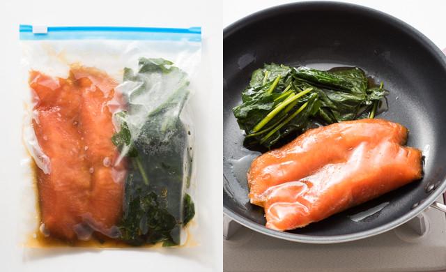 保存袋に入った冷凍後の照り焼きセット、鮭とほうれん草を冷凍のままフライパンにのせたカット