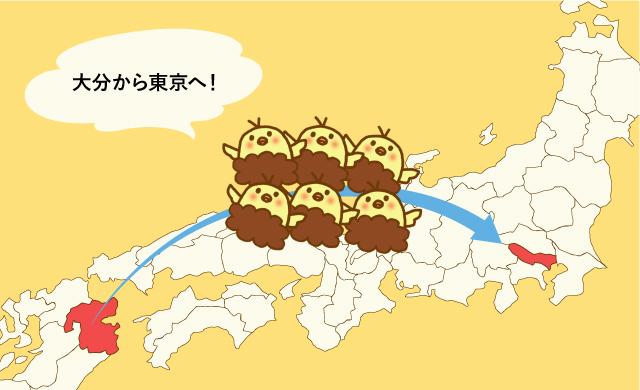 大分から東京へ唐揚げ(ピヨからクン)が上陸しているイメージ