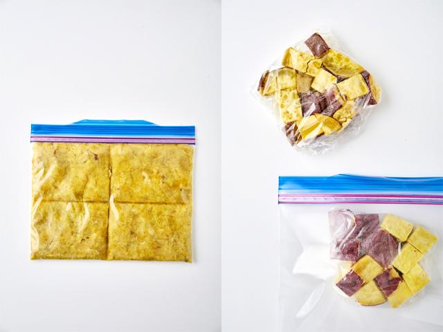 左:マッシュで冷凍する写真、右:角切りで冷凍する写真