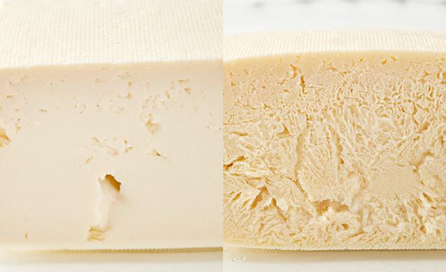 冷凍前の豆腐の断面写真、冷凍後の豆腐の断面写真