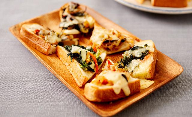 彩り野菜の一口パンピザの写真