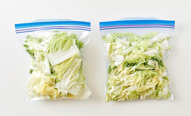 冷凍用保存袋に入れた白菜の写真