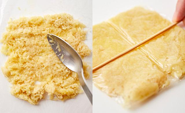 すりおろし生姜を広げる写真、4等分に筋を付ける写真
