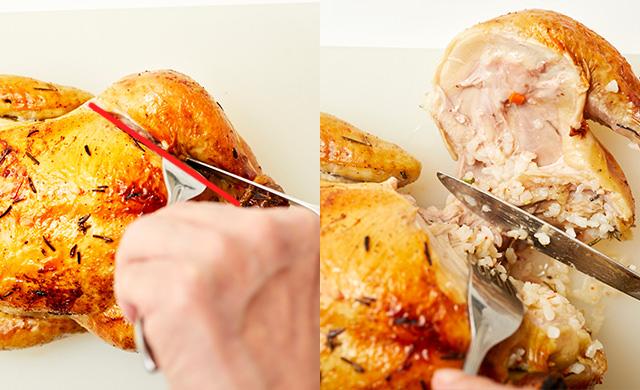 股関節に向けてナイフを入れている写真、股関節を外し終わった写真
