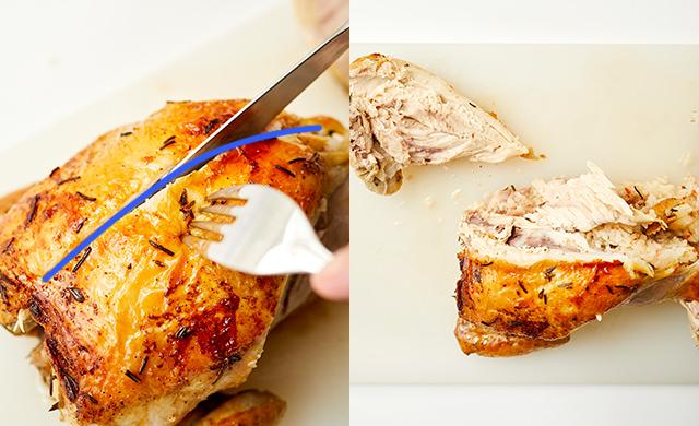 胸にナイフを入れている写真、胸肉を外し終わった写真