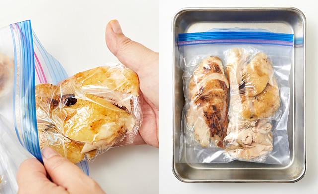 冷凍用保存袋に入れている写真、バットに乗せている写真