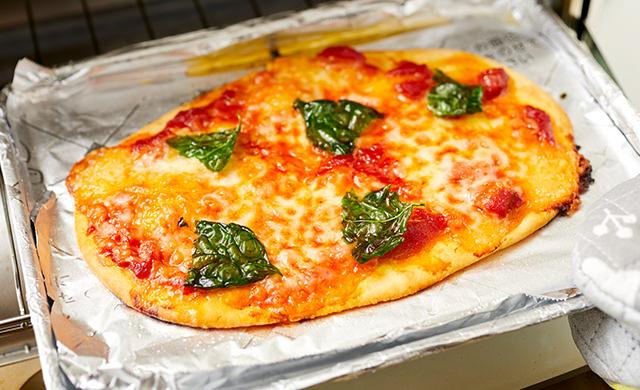 ピザが焼けたところの写真