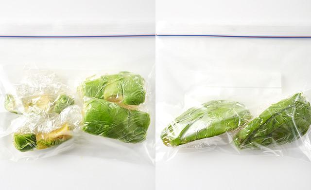 ダイス切りのアボカドを保存袋に入れた写真/スライスのアボカドを保存袋に入れた写真