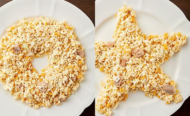 ドーナツ型にした冷凍チャーハンの写真/星型にした冷凍チャーハンの写真
