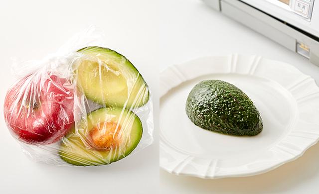 左・ポリ袋に入れたりんごとアボカドの写真/右・皿に入れたアボカドの写真