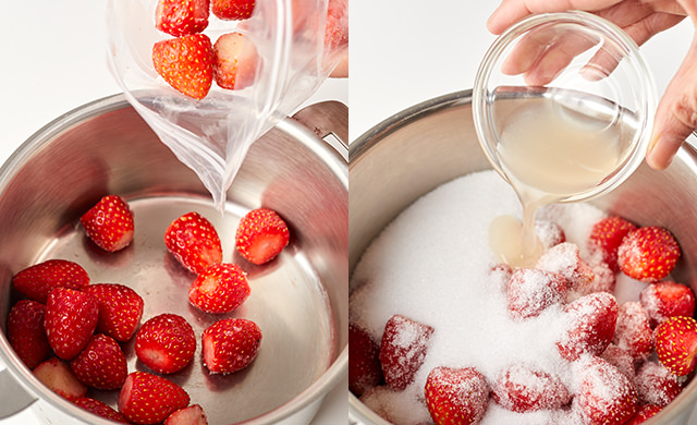 冷凍いちごを鍋に入れる写真/レモン汁を加える写真