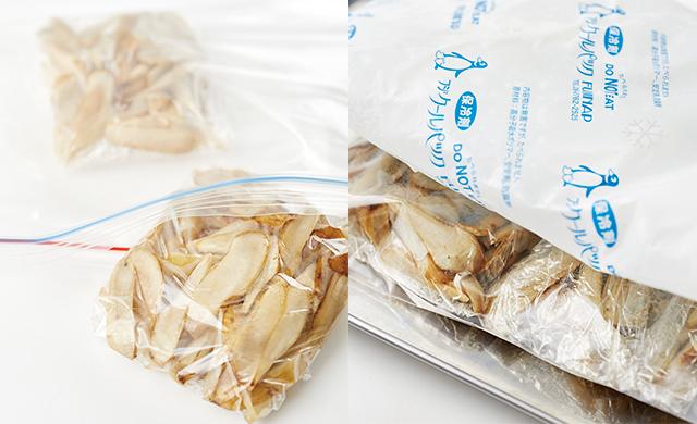 ささがきをラップに包み保存袋へ(写真左)、金属製バットと保冷剤で挟む(写真左)