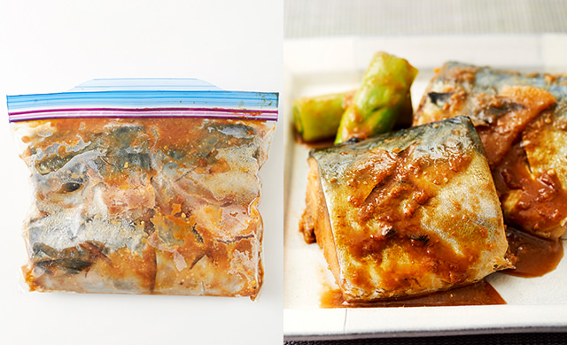 冷凍したさばの味噌漬けの集合写真/さばの味噌煮のできあがり集合写真