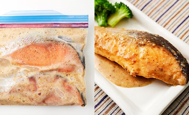 冷凍した鮭のドレッシング漬けの写真/鮭のごまドレソテーのできあがり写真