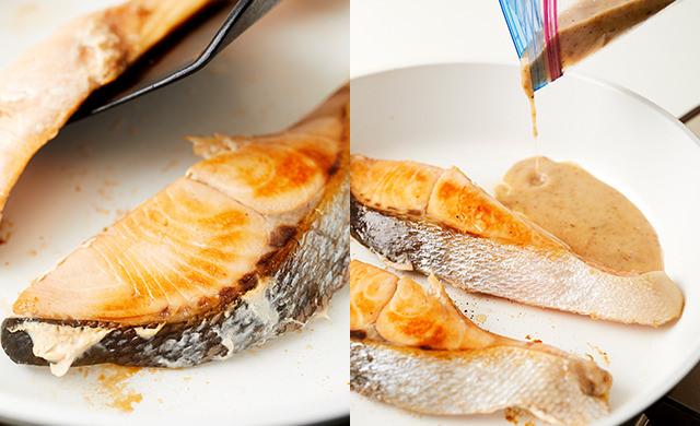 鮭に焼き色がついた集合写真/たれを加える写真