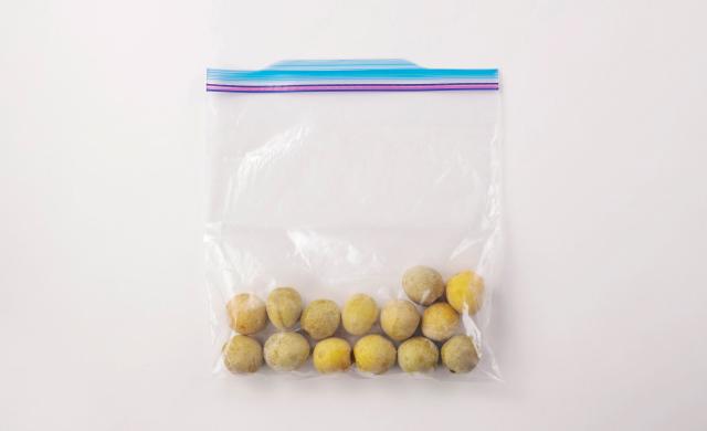 保存袋に入った冷凍梅