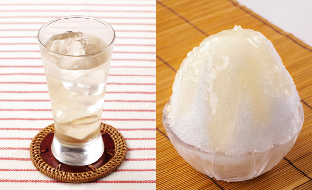 梅シロップの炭酸割りの写真(左)梅シロップのかき氷の写真(右)