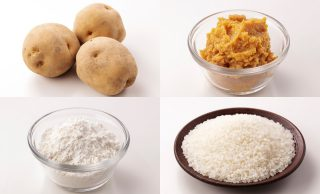じゃがいもの写真、ボウルに入れた小麦粉の写真、皿に盛った米の写真、ボウルに入れた味噌の写真
