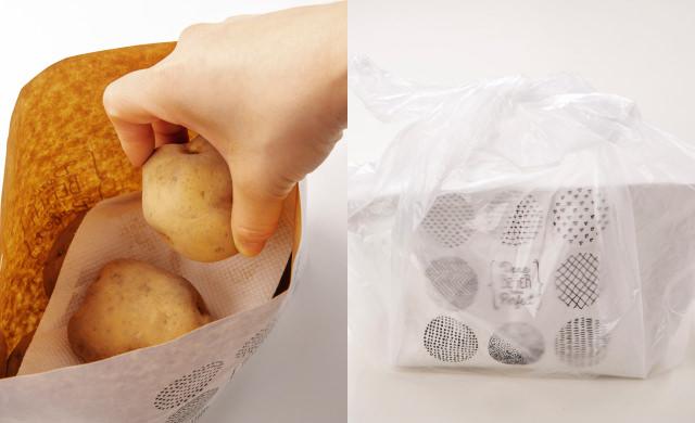 紙袋にじゃがいもを入れてペーパータオルをのせ、その上にじゃがいもを入れている写真(左)紙袋に入れたじゃがいもを、さらにポリ袋に入れて口を結んだ写真(右)