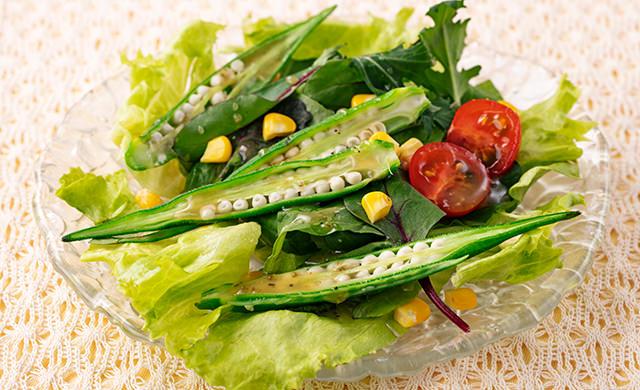 器に盛ったゆでオクラのグリーンサラダの写真