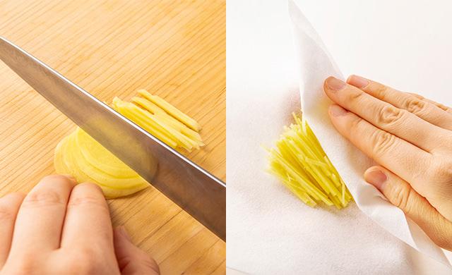生姜を千切りしている写真/千切り生姜の水気をペーパータオルで拭き取っている写真