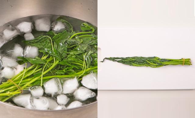 ゆでたモロヘイヤを氷水にさらしている写真(左)ゆでたモロヘイヤを絞り、まな板にあげた写真(右)
