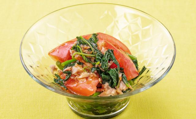 モロヘイヤとトマトのサラダの写真