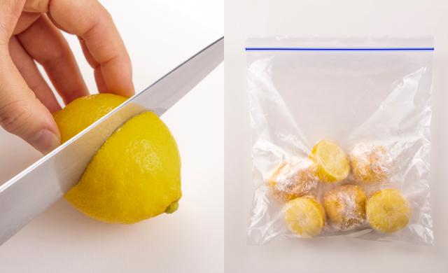 レモンを半分に切っている写真(左)半分に切ったレモンをラップに包んで冷凍用保存袋に入れて冷凍させた写真(右)