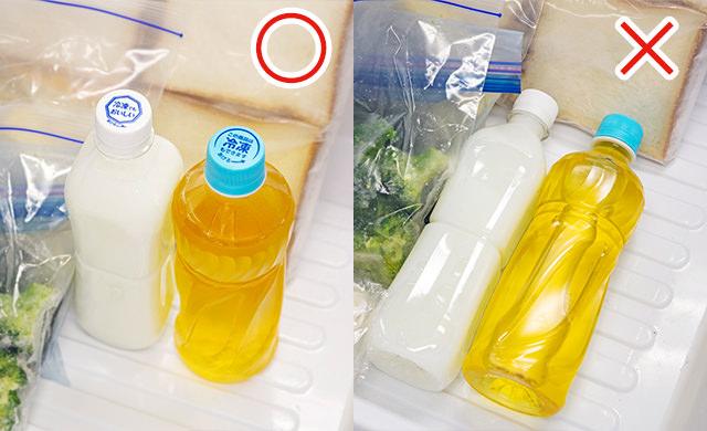 冷凍専用のペットボトル飲料を冷凍庫の中で立てて冷凍させている写真/冷凍専用のペットボトル飲料を冷凍庫の中で横に倒して冷凍させている写真