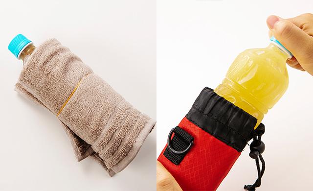 乾いたタオルで冷凍したペットボトル飲料がくるまれている写真/保冷ホルダーに冷凍ペットボトル飲料を入れている写真