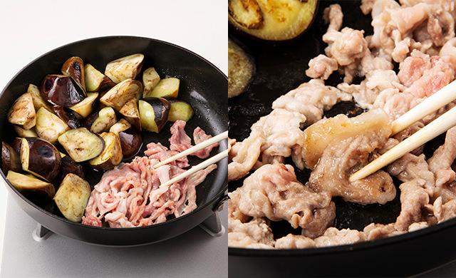 左 プロセス写真:フライパンの端になすを寄せ、豚肉を加えているところ/右 プロセス写真:豚肉の片面が焼けたところ