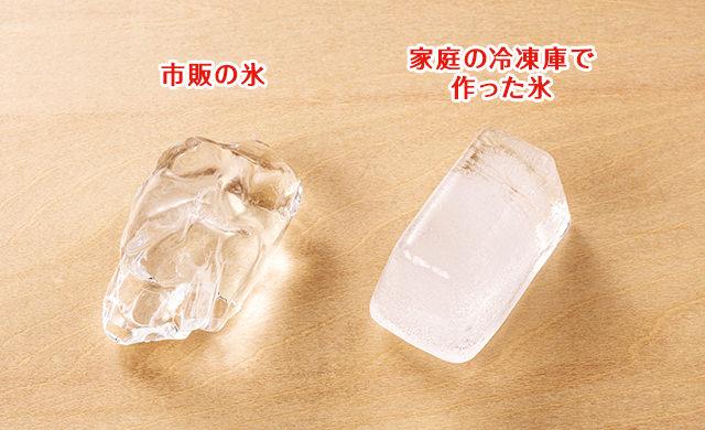 市販の透明度の高い氷(左)と、家で作った中が白い氷(右)の写真