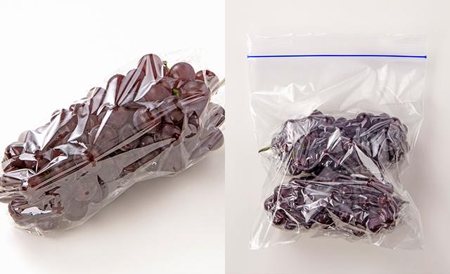 デラウェアをラップで包んだ写真/ラップで包んだデラウェアを冷凍用保存袋に入れた写真