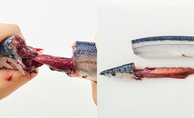 さんまの頭と身を持ち、内臓を引っ張り出している写真(左)頭ごと内臓を取った状態のさんまの写真(右)
