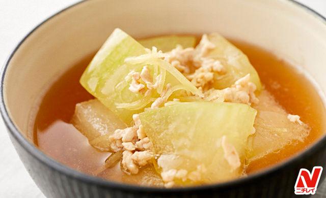 冬瓜と鶏ひき肉の和風生姜スープ