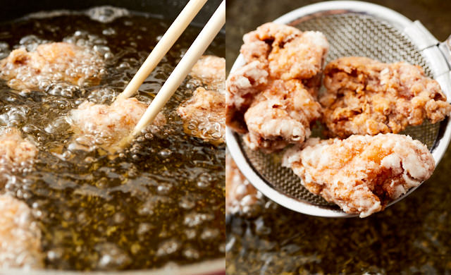 180℃に上げた揚げ油で唐揚げを揚げている写真/揚げた唐揚げを網じゃくしですくっている写真