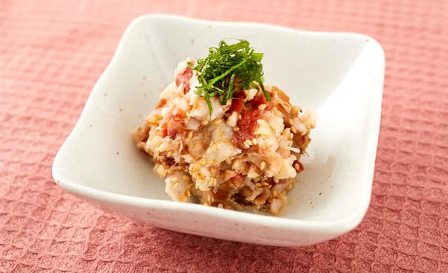 里芋と梅の和風サラダの写真