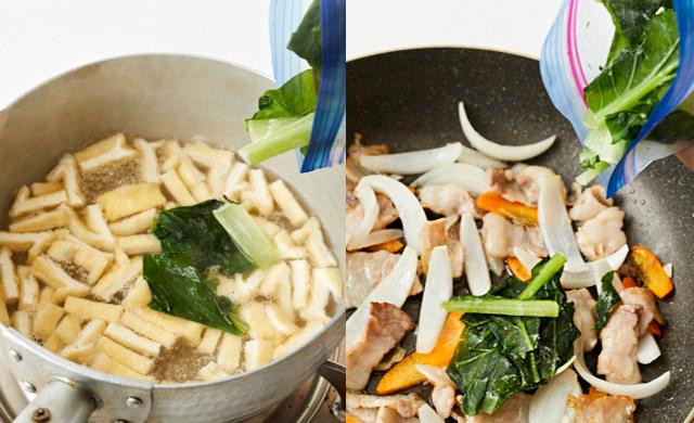 味噌汁に冷凍小松菜を加えている写真/炒め物に冷凍小松菜を加えている写真