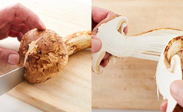松茸を切る写真/松茸を裂いた写真